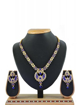 Stone Work Necklace Set in Blue