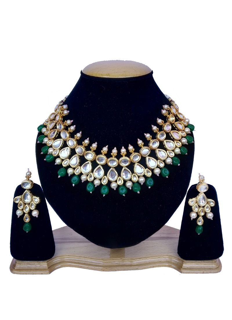 Stone Work Necklace Set in Gold and Green