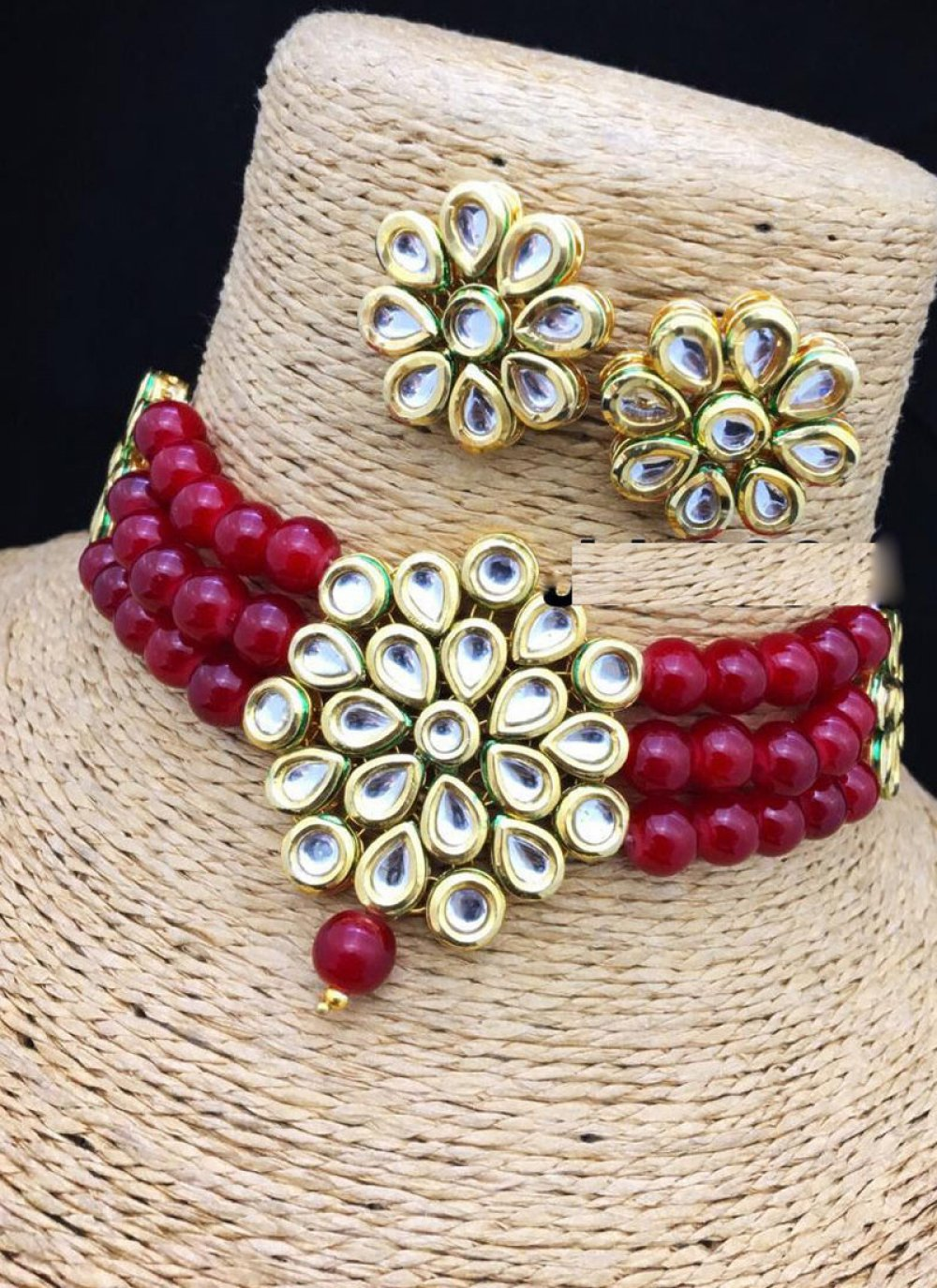 Stone Work Necklace Set in Gold and Maroon