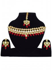 Stone Work Necklace Set in Gold and Red