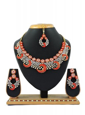 Stone Work Necklace Set in Red