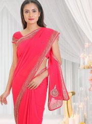 Stone Work Pink Traditional Saree