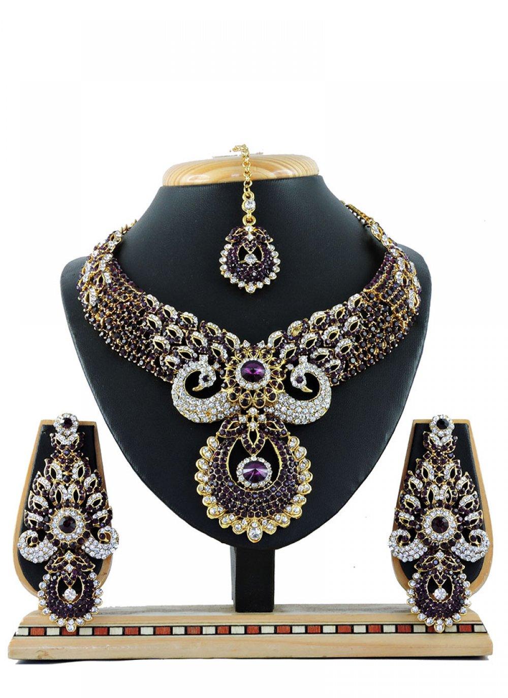 Stone Work Purple Necklace Set