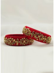 Stone Work Red Bangles