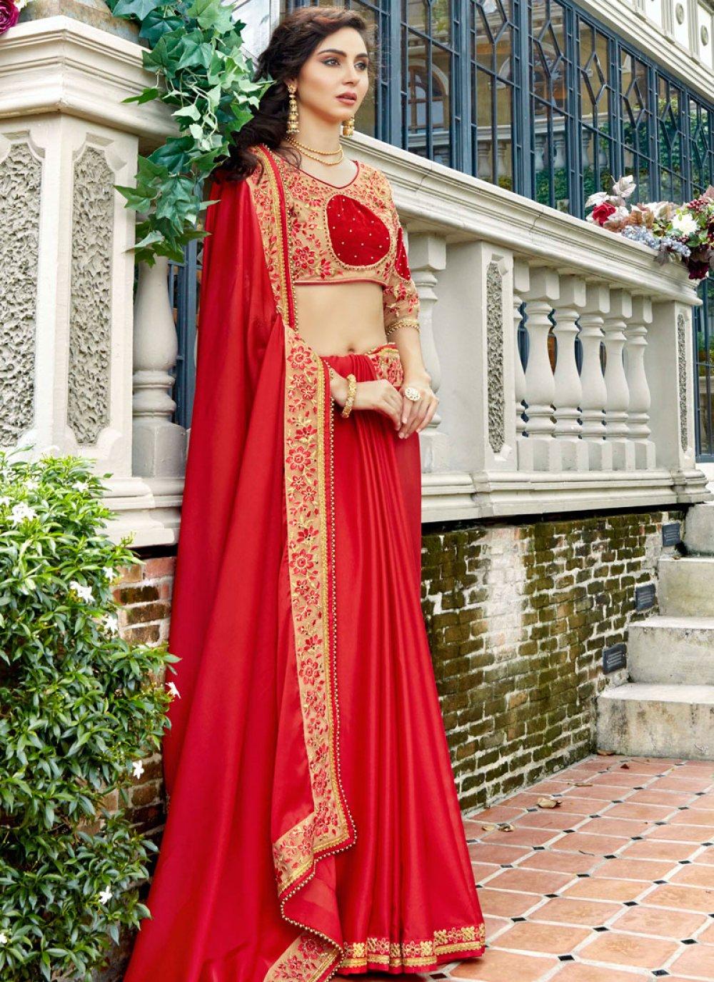 Stone Work Red Rangoli Designer Saree