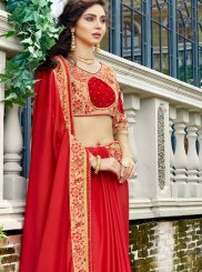 Stone Work Red Rangoli Designer Saree