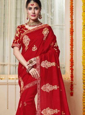 Stone Work Red Silk Trendy Saree