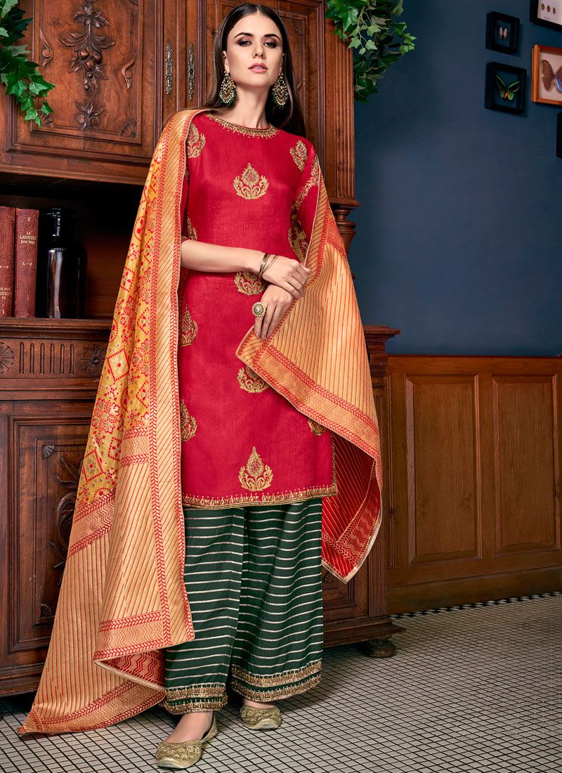 Stone Work Silk Red Palazzo Designer Salwar Suit