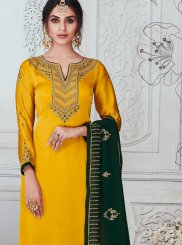 Stone Work Yellow Georgette Satin Churidar Salwar Suit