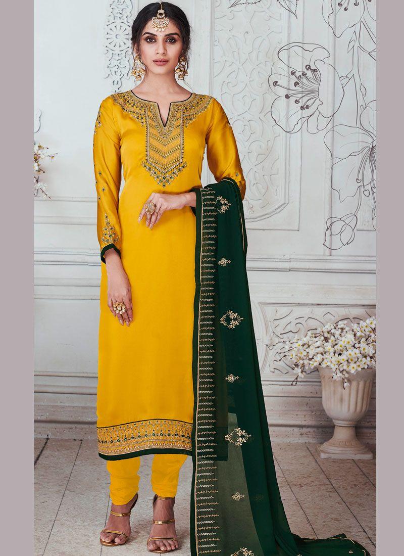 Stone Work Yellow Georgette Satin Churidar Salwar Suit