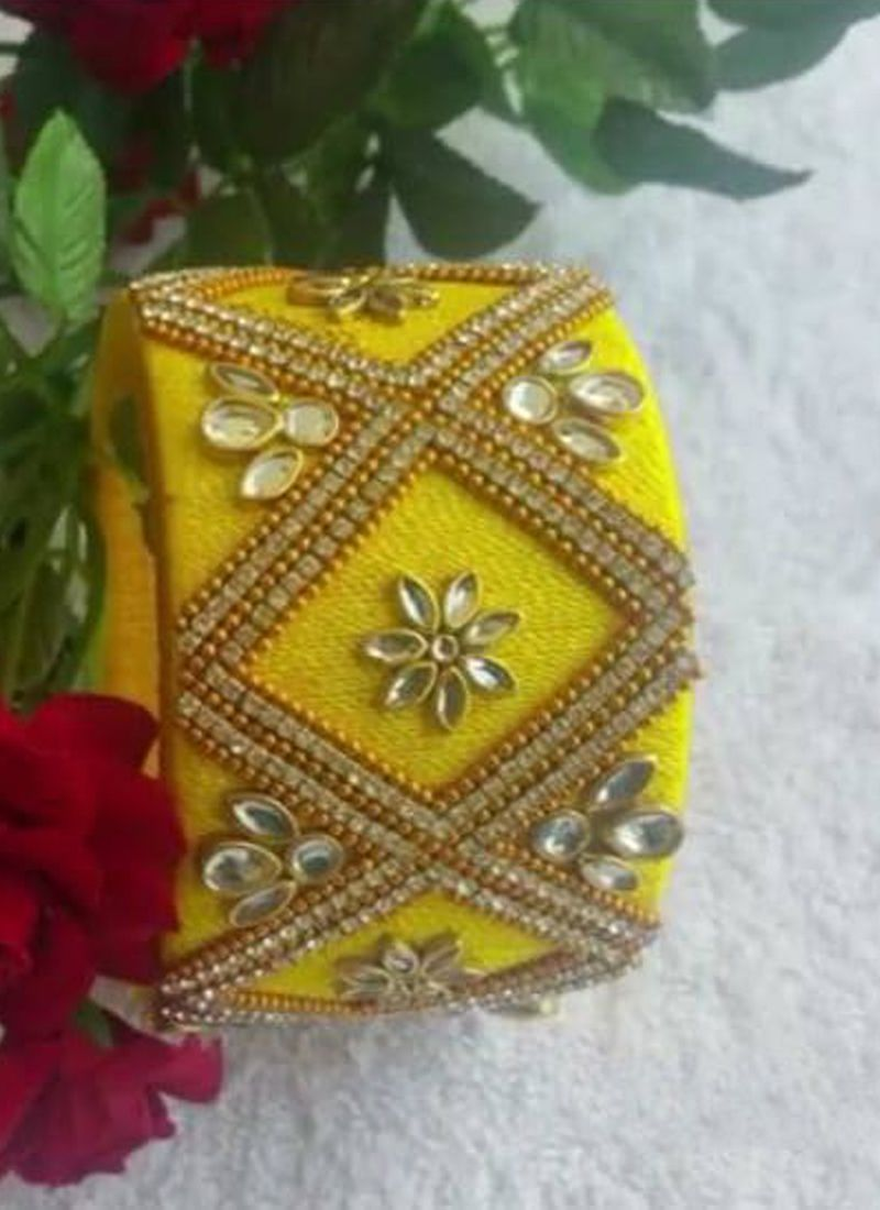Stone Work Yellow Kada Bangles