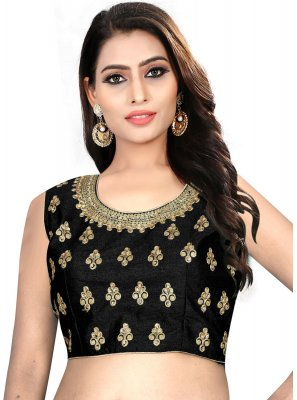 Stunning Black Color Designer Blouse With Embroidery Work