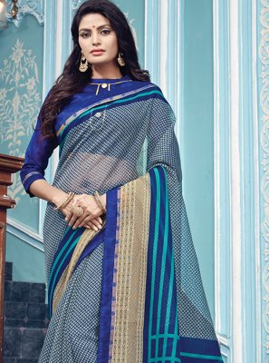 Super Net Grey Designer Traditional Saree