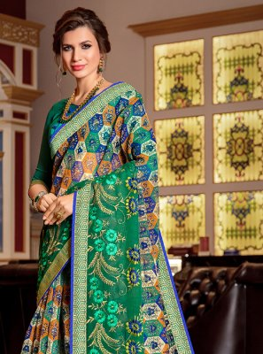 Super Net Printed Designer Traditional Saree in Green