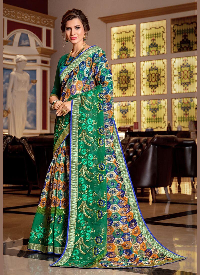 Super Net Printed Designer Traditional Saree in Green