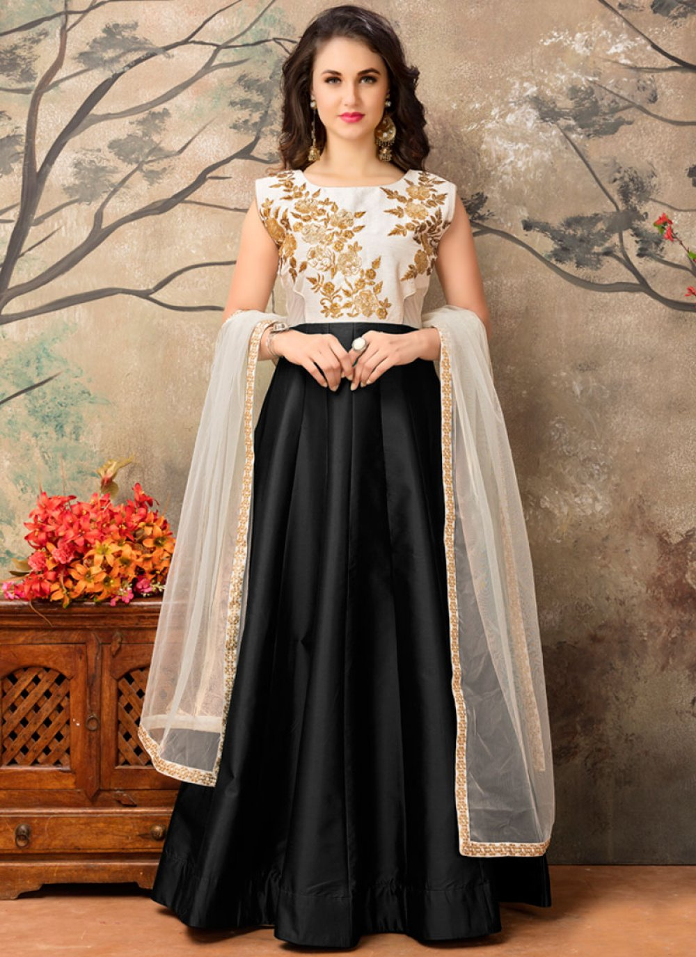 Tafeta silk Black Embroidered Work Floor Length Anarkali Suit