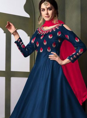 Tafeta Silk Blue Embroidered Trendy Gown
