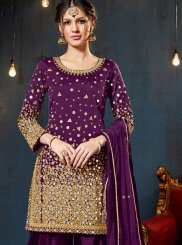 Tafeta Silk Designer Patiala Suit in Purple
