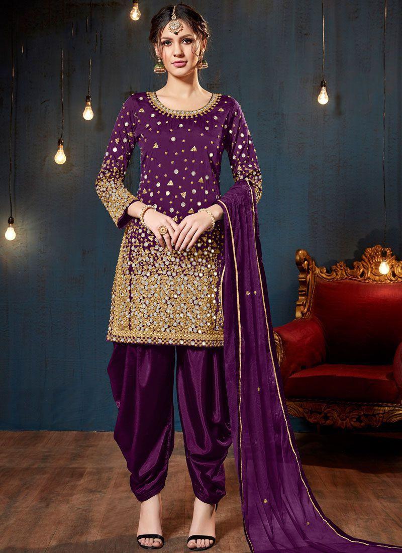 Tafeta Silk Designer Patiala Suit in Purple