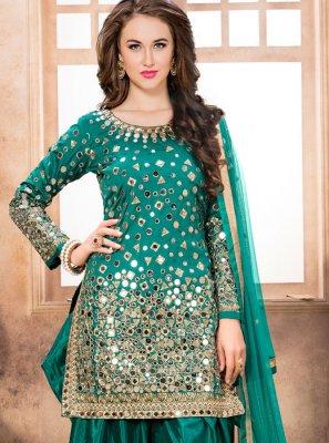 Tafeta silk Designer Patiala Suit