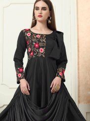Tafeta Silk Embroidered Black Readymade Designer Gown