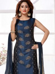 Tafeta Silk Embroidered Blue Readymade Suit