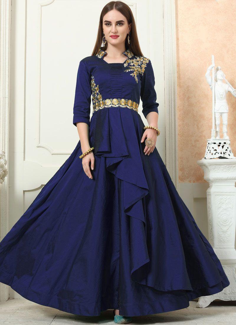 Tafeta Silk Embroidered Designer Gown