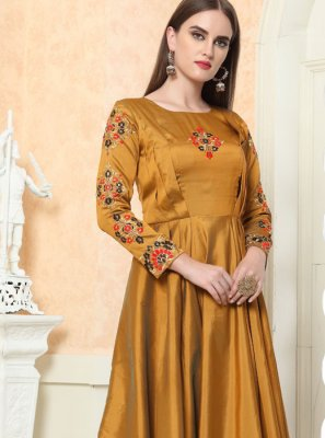 Tafeta Silk Embroidered Gold Readymade Gown