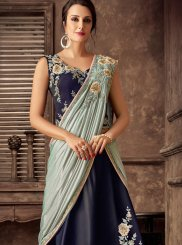 Tafeta Silk Embroidered Lehenga Style Saree in Blue