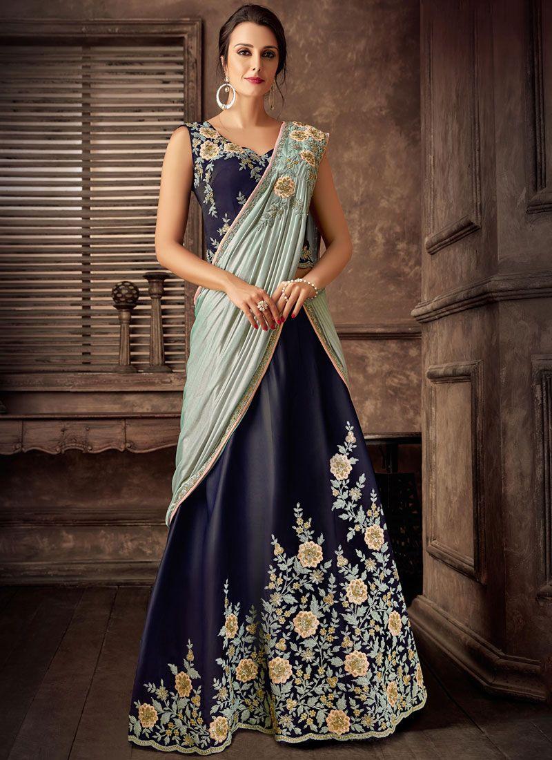 Tafeta Silk Embroidered Lehenga Style Saree in Blue