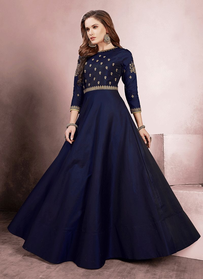 Tafeta Silk Embroidered Navy Blue Readymade Gown