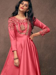 Tafeta Silk Embroidered Readymade Gown