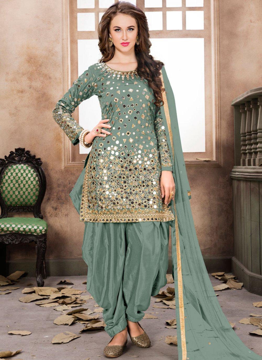 Tafeta Silk Embroidered Sea Green Designer Patiala Suit