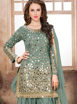 Tafeta Silk Embroidered Sea Green Designer Patiala Suit