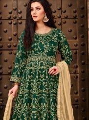 Tafeta Silk Green Anarkali Salwar Kameez