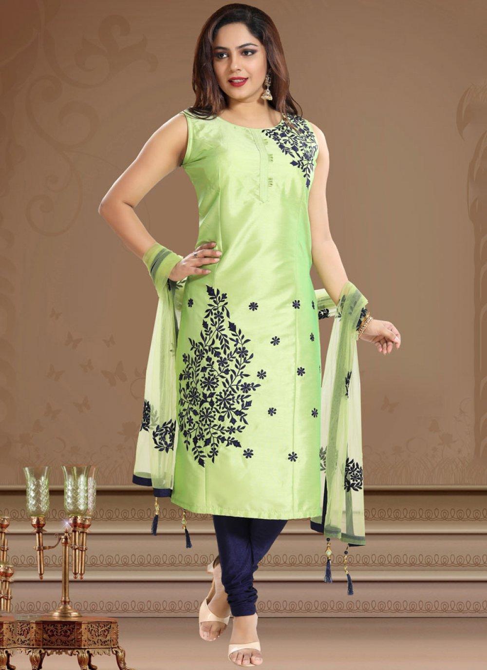 Tafeta Silk Green Print Churidar Designer Suit