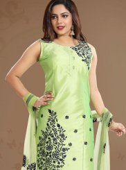 Tafeta Silk Green Print Churidar Designer Suit
