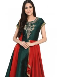 Tafeta Silk Green Readymade Anarkali Suit