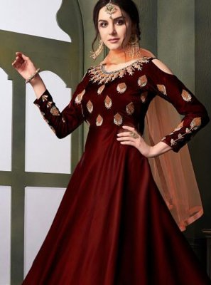 Tafeta Silk Maroon Embroidered Designer Gown