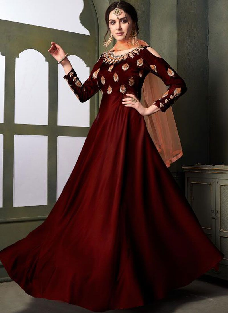 Tafeta Silk Maroon Embroidered Designer Gown