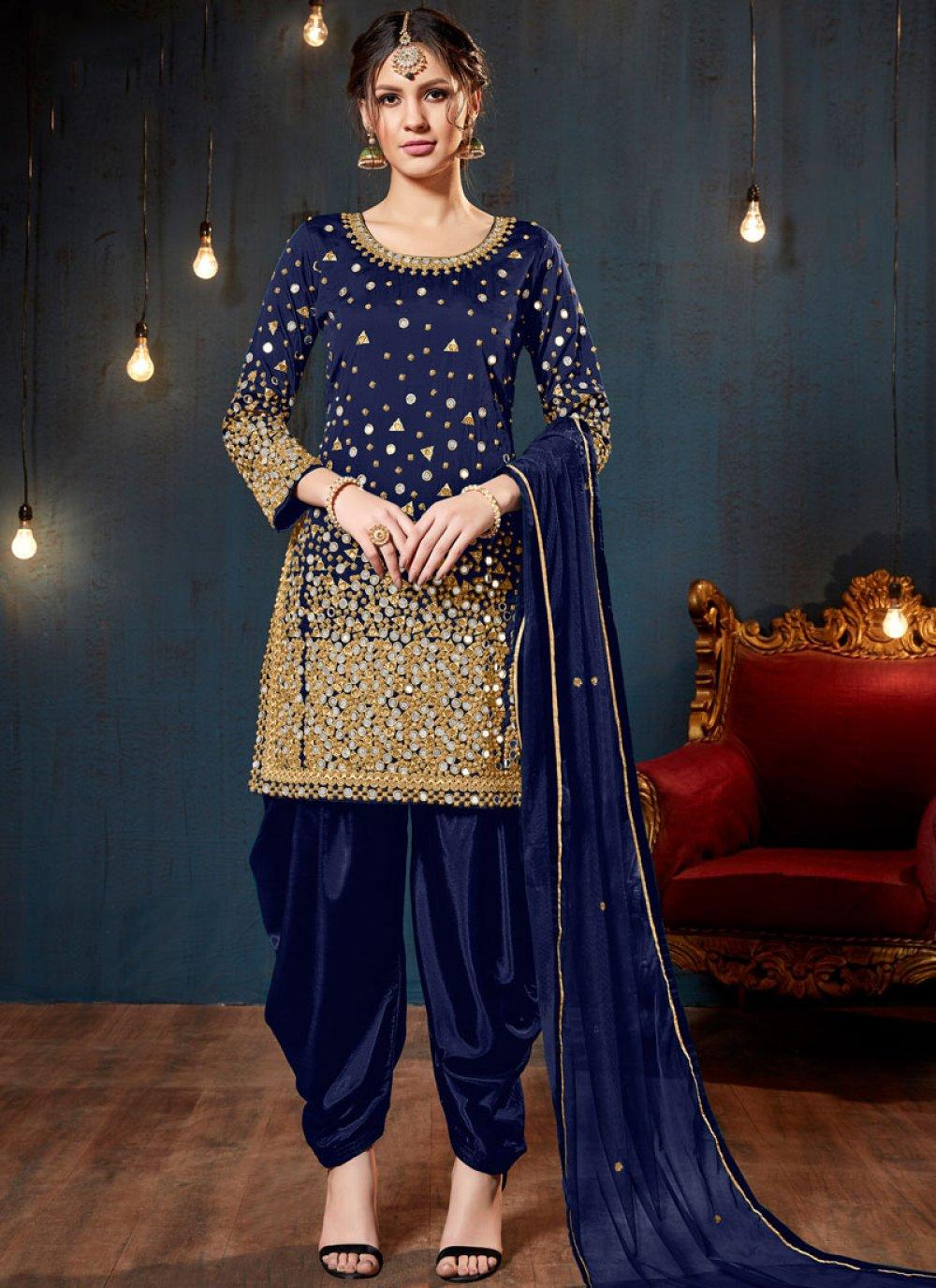 Tafeta Silk Mirror Designer Patiala Salwar Kameez in Blue