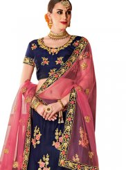 Tafeta Silk Navy Blue Embroidered Designer Lehenga Choli