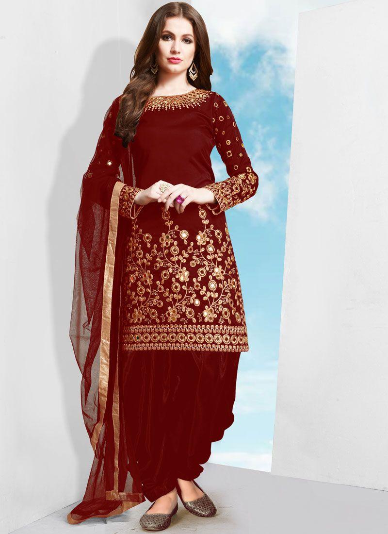 Tafeta Silk Patiala Salwar Suit in Red