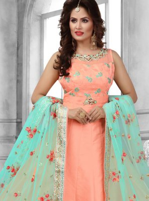 Tafeta Silk Peach Anarkali Suit