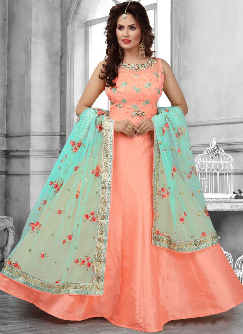 Tafeta Silk Peach Anarkali Suit
