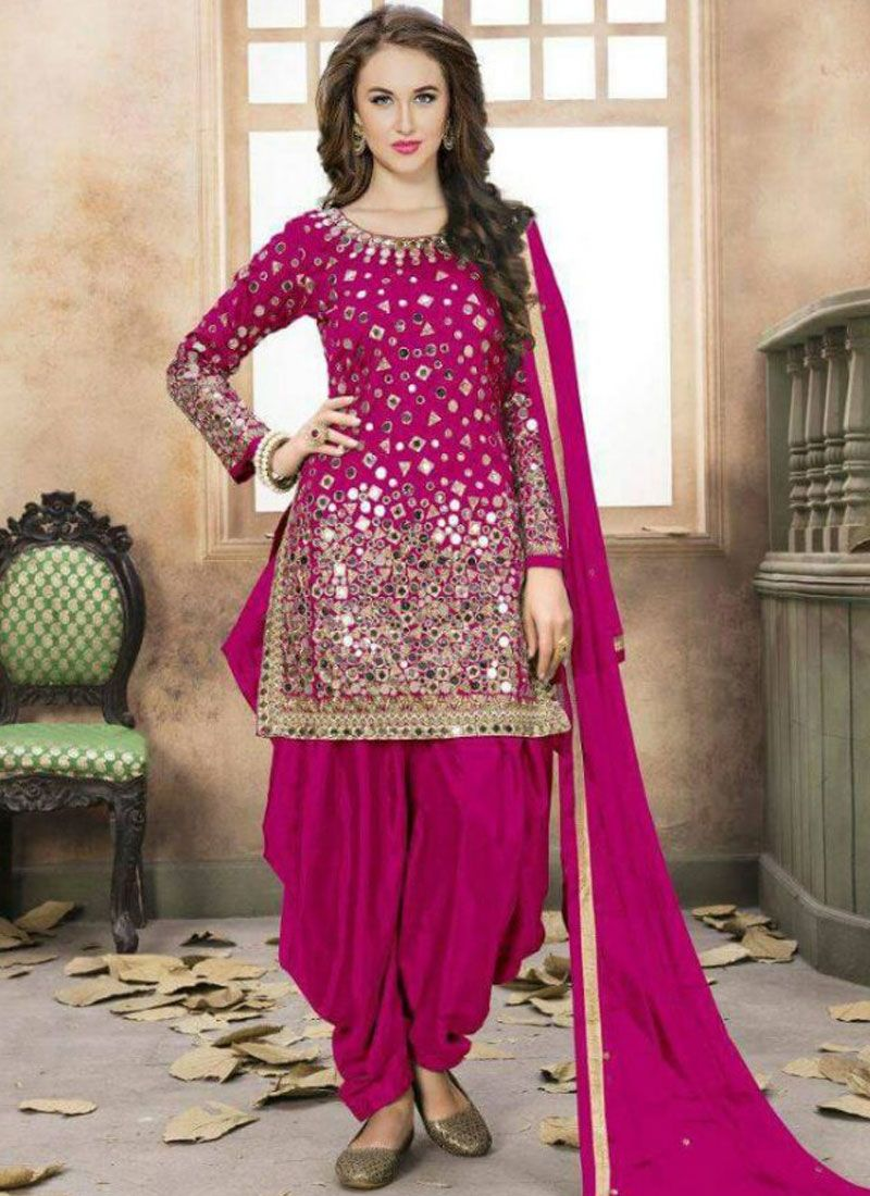 Tafeta silk Pink Embroidered Work Patiala Salwar Kameez