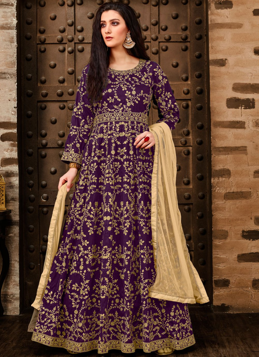 Tafeta Silk Purple Anarkali Salwar Suit