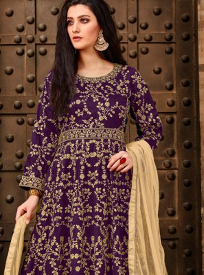 Tafeta Silk Purple Anarkali Salwar Suit