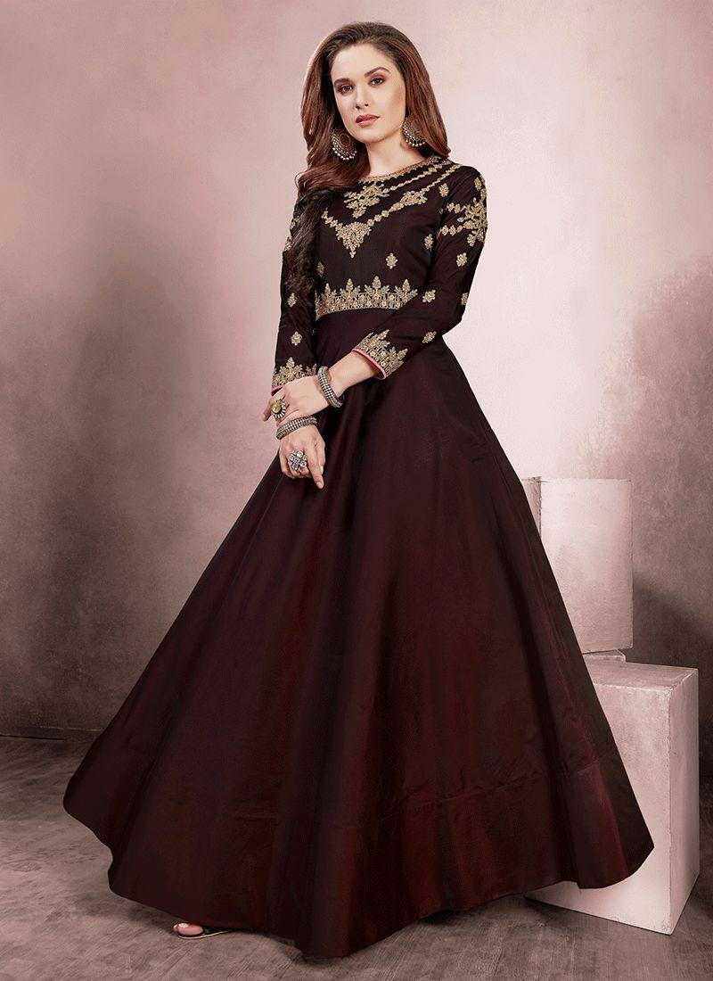 Tafeta Silk Readymade Gown  in Brown