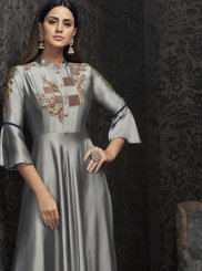 Tafeta Silk Readymade Gown in Grey